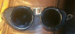 Antique Steampunk Welding Goggles Ex cond Green Lens