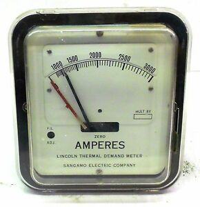 Sangamo Electric Lincoln Thermal Demand Meter 79955 5 Amps 0 3000 Amperes