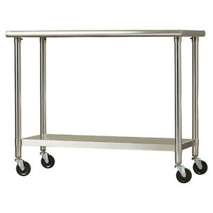 Preparation Table Metal Cart Garage Kitchen Island Indoor Outdoor Rolling Food