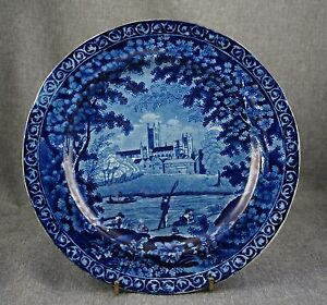 Clews Warranted Historical Staffordshire Fishing Plate 10 Flow Blue