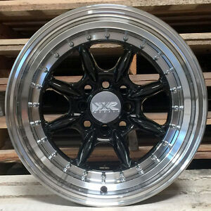 Xxr 002 5 Wheels 16 X 8 20 Black Deep Dish Step Lip Rims 4x100 Stance Honda Fit