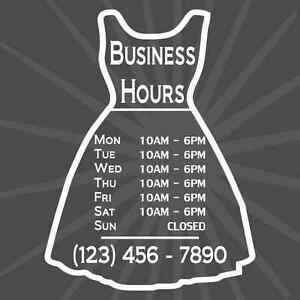 Custom Business Dress Store Hours Vinyl Window Decal 9x12 Sticker Sign Fashion