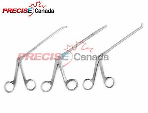 Set Of 3 Cushing Pituitary Rongeurs 6 3mm straight Up Down Ent Instruments