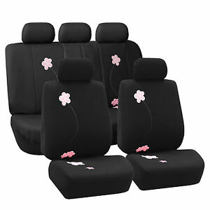 Flower Embroidery Airbag Compatible Black Car Seat Covers 2 Row Set Auto