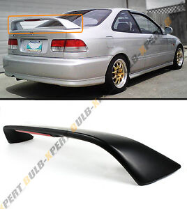 For 96 00 Honda Civic 2dr Coupe 6th Si Blk Trunk Spoiler Wing W Led Brake Light
