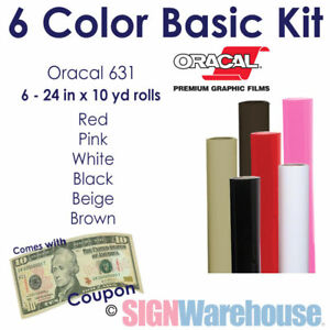 Oracal 631 24 x10 Yd 6 roll Pack Decals Wall Graphics Cutter 3yr Sign Vinyl