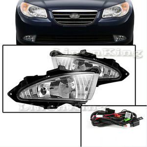 Fl7098 For 07 10 Hyundai Elantra Fog Lights Clear Lens Bumper Lamps Full Kit