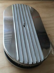 15 X 2 Half Finned Billet Polished Air Cleaner Retro Oval Hot Street Rod