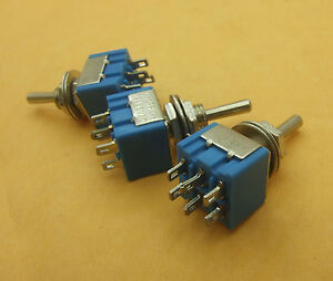 100 Pcs 2 Rows 6 pin Power Supply Toggle Switchs on off Solder Lug Mts 203