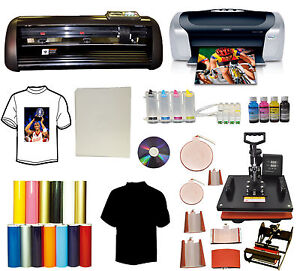13 Metal Vinyl Cutter Plotter 8in1 Combo Heat Press printer ciss Ink pu Vinyl