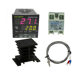 220v Digital Temperature Controller Itc 100vh K Sensor 25da Ssr Heat Sink