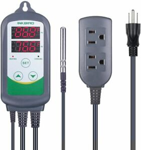 Inkbird Itc 308 Pre wired Dual Stage Digital Temp Control Thermostat Outlet 110v