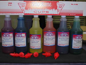 Snow Cone Syrup 6 Quarts W 6 Spouts Pick Your Flavors With 200 Cups