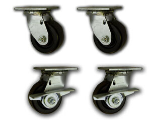 4 X 2 Heavy Duty Swivel Casters W Phenolic Wheels 3200 4 Pk 2 W Brakes