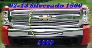 07 13 08 09 10 11 12 Chevy Silverado1500 Polished Billet Grille Combo 2011 2013