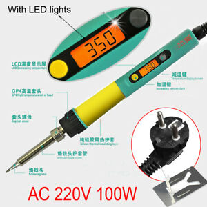 Sleep Function Lcd Soldering Iron Adjustable Temperature Digital 220v 100w Light