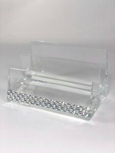 Swarovski Crystal Hand Jeweled Business Card Holder Desk Accessory With Bling