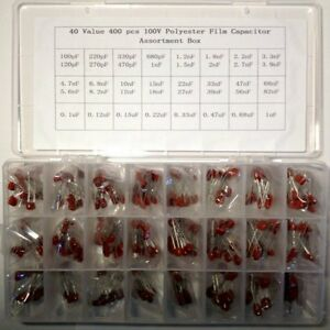 100v Polyester Film Capacitor Assorted Kit Box 40 Values 400 Pcs 100pf 1uf