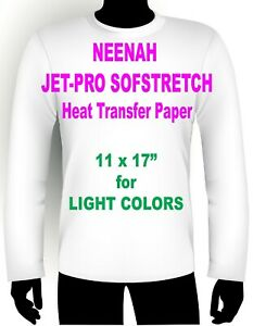 Jet Pro Sofstretch Inkjet Heat Iron On Transfer Paper 11 X 17 175 Sheets