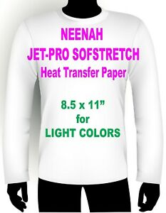 Jet Pro Sofstretch Inkjet Heat Iron On Transfer Paper 8 5 X 11 95 Sheets