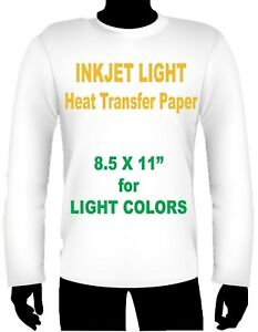Ink Jet Heat Iron On Transfer Paper Light 8 5 X 11 80 Sheets