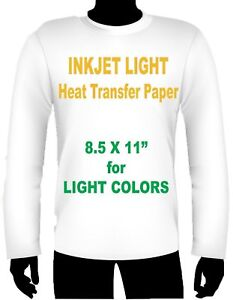 Ink Jet Heat Iron On Transfer Paper Light 8 5 X 11 55 Sheets