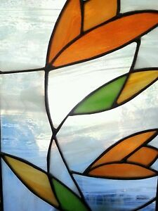 Vintage Stained Glass Panel Hanging 14 25
