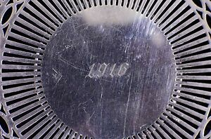 Antique Reticulated Silverplate Plate Charger Marked Shm Co 1916 Wwi 9 1 2