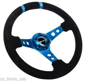 Nrg Deep Dish Steering Wheel 350mm Black Suede Blue Center Rst 016s Bl