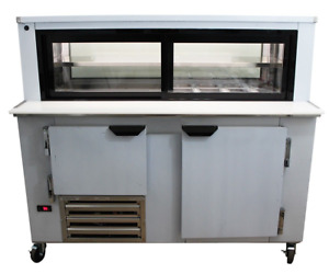 Cooltech 1 1 2 Door Glass Box Display Refrigerated Sandwich Prep Table 48