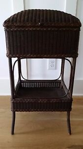 Vintage Wicker Sewing Basket Lloyd Loom Style In Original Finish
