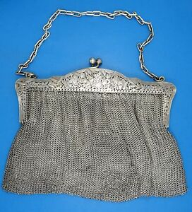 Antique French 19c Ornate A Vaguer Sterling Chain Mail Mesh Purse 9 W 446g