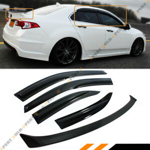 Jdm Wavy Style Smoked Window Visor trunk Spoiler For 2009 2014 Acura Tsx Euro R