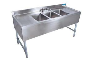Bk 3 bowl Bar Sink With Drainboards 60 Wide 21 Depth
