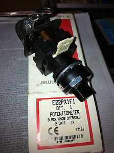 Cutler Hammer E22px1f1 Black Knob Operated Potentiometer 2 Watt 1k Pot Panel Mt