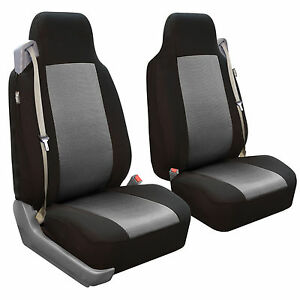 Seat Covers Front Pair For Built In Seat Belt Seats Gray Black Car Auto