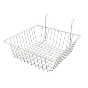 6 Wire Baskets 12 l X 12 d X 4 h White For Slatwall Grid Or Pegboard