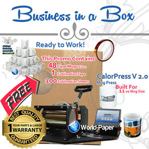 Cup Mug Press Printer Digital Combo With 48 Case 11 Oz Mugs Tape Paper
