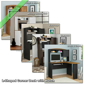 L Shaped Corner Computer Desk With Hutch Home Office Laptop Wood Table Desks