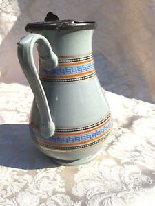 Antique Victorian Syrup Jug Or Milk Pitcher W Greek Key Banding