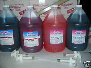 Snow Cone Syrup 4 Gallons Mix Match With 4 Pumps
