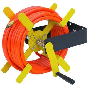100 Ft Open Side Rust Proof Steel Air Hose Reel Leak Free hand Cranking Tool