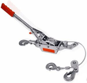 4 Ton 3 Hook Comealong Winch Hoist Hand Power Puller Cable Come Along Tool Pull