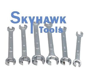 New 6 Pc Sae Metric Line Flare Nut Wrench Set 3 8 11 16 10 17mm