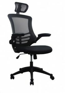 Techni Mobili Mesh High back Chair With Flip up Arms And Headrest