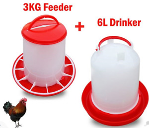 Poultry Bird Chicken Drinker 6l And 3kg Feeder