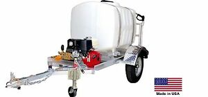 Pressure Washer Commercial Trailer Mounted 200 Gal 4 Gpm 4000 Psi 13 Hp
