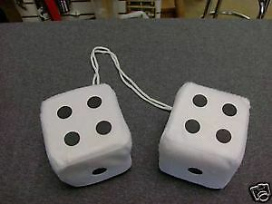 Fuzzy Dice In White For The Rear View Mirror All Car And Trucks For Fun 3 Inch