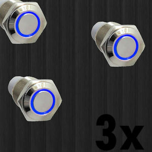 3x 16mm 12v Blue Led Angel Eye Push Button Metal On off Switch For Car Sale