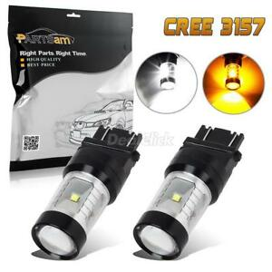 2x 3157 Cree Switchback White Amber Yellow Dual Color Turn Signal Lights Bulbs